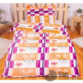 TP Hřejivé povlečení 140x200 70x90 (Oranžové květy) Mikroflanel