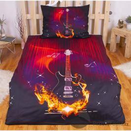 TOP 3D povlečení 140x200 70x90 Ohnivá kytara