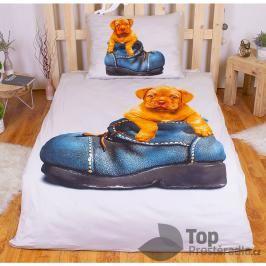TOP 3D povlečení 140x200 70x90 Štěně v botě