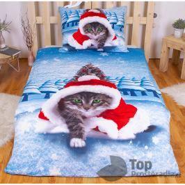 TOP 3D povlečení 140x200 70x90 Vánoční kotě