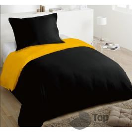 TOP Hebké povlečení 140x200+70x90 Black & Yellow