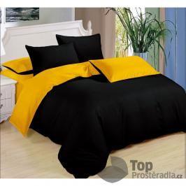 TOP Sedmidílná sada  povlečení 140x200+70x90 - Black & Yellow