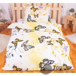 TOP Bavlněné povlečení 140x200+70x90  Motýlí elegance žlutá