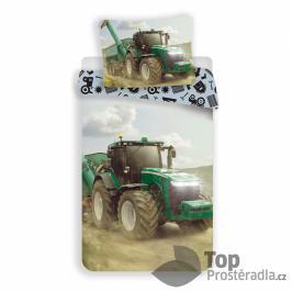 TOP Bavlněné povlečení 140x200+70x90 Traktor Green