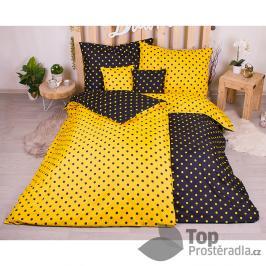 TOP Sedmidílná sada hebkého povlečení s jemnými puntíky 140x200+70x90 - Yellow & Black