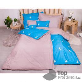 TOP Sedmidílná sada hebkého jednobarevného povlečení 140x200+70x90 - Blue and Mini Horses