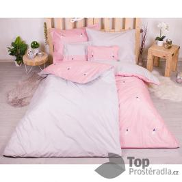 TOP Sedmidílná sada hebkého jednobarevného povlečení 140x200+70x90 - Pink and BW feather