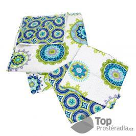 TOP Přehoz na postel s povlaky na polštářky 220x240 + 2x 40x40 Kaleidoskop - zelený