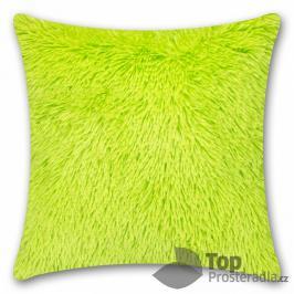 TOP Luxusní povlak na polštářek s dlouhým vlasem 40x40 - Zelená