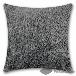TOP Luxusní povlak na polštářek s dlouhým vlasem 40x40 - Šedá