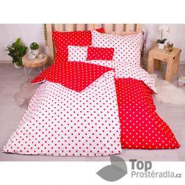 TOP Sedmidílná sada hebkého povlečení s jemnými puntíky 140x200+70x90 - Red & White