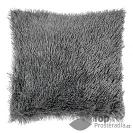 TOP Luxusní povlak na polštářek s dlouhým vlasem 40x40 - Tmavě šedá