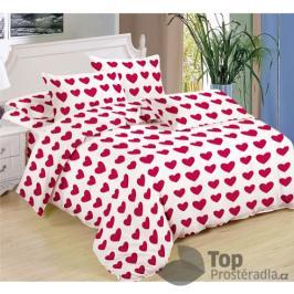 TOP Sedmidílná sada hebkého povlečení se vzorem 140x200+70x90 - Red line of hearts