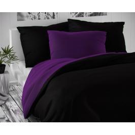 TOP Saténové prodloužené povlečení LUXURY COLLECTION 140x220+70x90cm černé / tmavě fialové