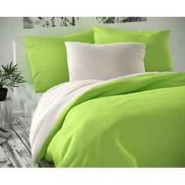 TOP Saténové prodloužené povlečení LUXURY COLLECTION 140x220+70x90cm bílé / světle zelené