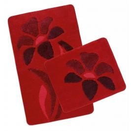 Koupelnová a WC předložka ULTRA červená kytka