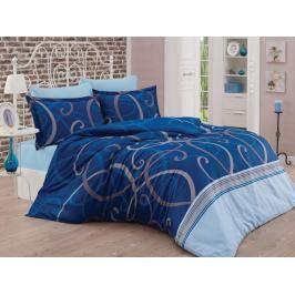 TOP Saténové francouzské povlečení LUXURY COLLECTION 220x200+2x70x90cm Waves modré