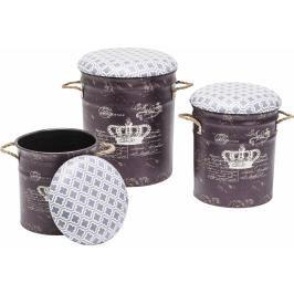 Set tří hnědých stoliček Storage Royal