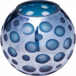 Modrá skleněná váza Blue Dots 17cm