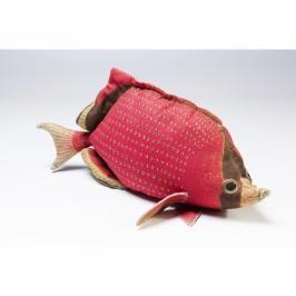 DEKORATIVNÍ POLŠTÁŘ SHAPE FISH DOTS RED 33×62 CM