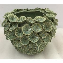 Zelená keramická váza Bloom 18 cm