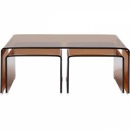 Konferenční stolek Visible - jantarový, set 3 ks, 90x50cm