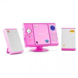 OneConcept V-12, stereo systém s MP3 CD přehrávačem, USB, SD, AUX, růžový s nálepkami