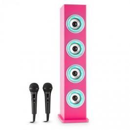 Auna Karaboom LED, růžová, bluetooth reproduktor, USB, AUX, karaoke, 2 mikrofony