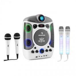 Auna Set: karaoke systém Kara Projectura, bílý + dva mikrofony Kara DAZZLE, LED podsvícení