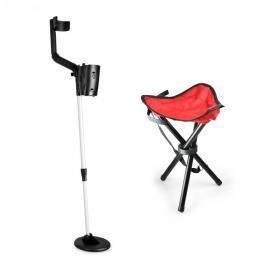 DURAMAXX Basic Red, sada na hledání pokladů, detektor kovů + kempovací stolička, 16,5 cm sonda