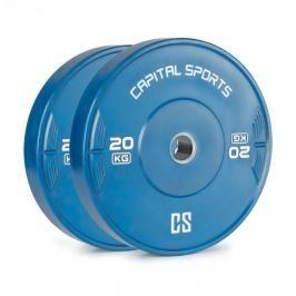 Capital Sports Nipton 20, kotouč, závaží, 2 x 20 kg, tvrzená pryž, modrý