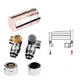 Isan O19CUA-04, chrom, designový termostatický set úhlový – triaxiální pro Al/PE-X, Al/PERT trubky