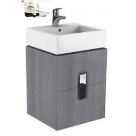 Koupelnová skříňka s umyvadlem Kolo Twins 50x57 cm grafit stříbrný SIKONKOTW502SG