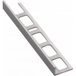 Lišta ukončovací L hliník kartáčovaný elox stříbrná, délka 250 cm, výška 8 mm, ALEK8250