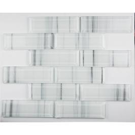 Skleněná mozaika Premium Mosaic bílá 30x30 cm lesk MOSV48STRIPE