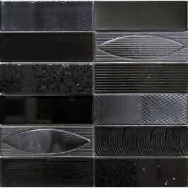 Skleněná mozaika Mosavit Geo negro 30x30 cm mat / lesk GEONE