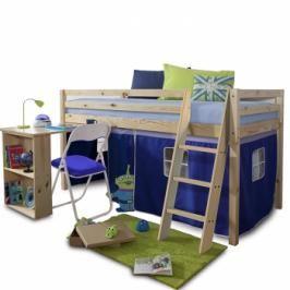 Dětská patrová postel s PC stolem Alzena modrá - TempoKondela