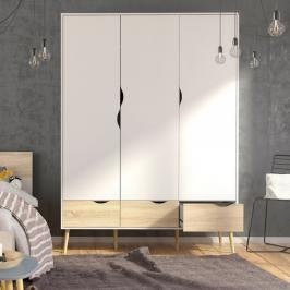 Třídveřová retro šatní skříň Oslo 75468 bílá/struktura dubu - TVI
