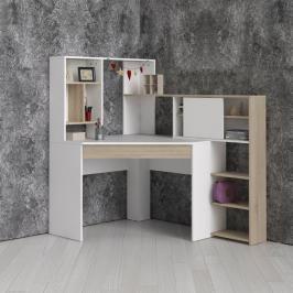 Rohový psací stůl Function Plus 70482 bílá/dub - TVI
