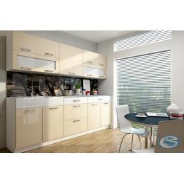 Kuchyňská linka Anika 220/220 cm vanilka  vysoký lesk - FALCO