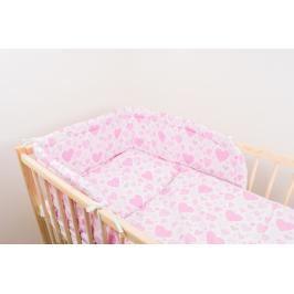 ANTONY FASHION - Třídílná sada - povlečení + mantinel (růžová) - Srdíčka, velikost: 120x90 (přikrývka) + 40x60 (polštář)