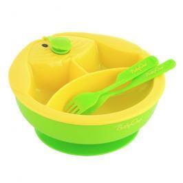 BabyOno - Miska trojdílná s příborem - zelená