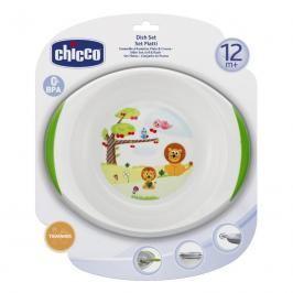Chicco - Jídelní set talíř a miska, 12m +