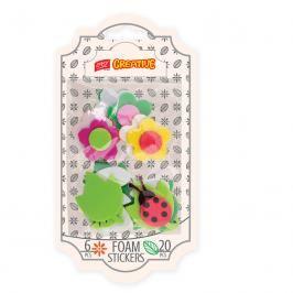EASY - Dekorativní pěnové nálepky  6 kytiček + 6 lístečků + berušky