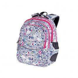 EASY - Batoh školní tříkomorový bílo-šedý růžové zipy, profilovaná záda, 26 l