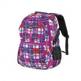 EASY - Batoh školní tříkomorový fialovo-barevné káro,  profilovaná záda, 26 l