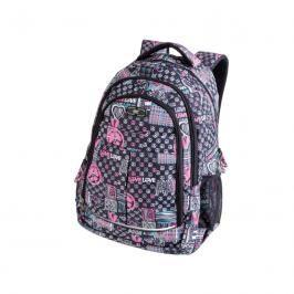 EASY - Batoh studentský tříkomorový šedo-růžový LOVE 26 l