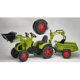 FALK - Šlapací traktor 1011Z Claas Axos s nakladačem, rypadlem a vlečkou