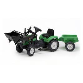 FALK - Šlapací traktor 2052CM Ranch Trac zelený s nakladačem a vlečkou