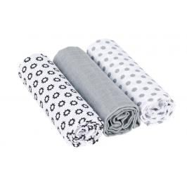 LÄSSIG - Bavlněné pleny Swaddle blanket 85x85 Little Chums Stars white